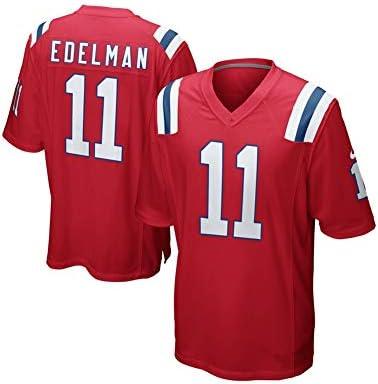 ラグビージャージー-ニューイングランドの愛国者#11エデルマンメッシュジャージーTシャツサッカージャージーラグビーファンTシャツプリントトッ