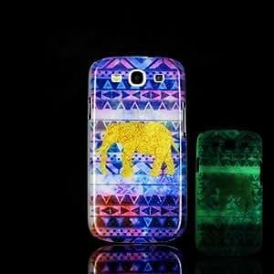 GX 20150511 elefante patrón de brillo en el caso duro oscuro para Samsung Galaxy S3 i9300