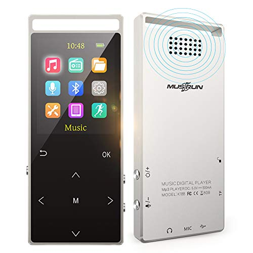 MUS RUN MP3 Player, MP3 Player with Bluetooth, Hi-Fi Lossless Sound Music Player with FM Radio, Voice Recorder, Pedometer, Expandable up to 128GB TF Card, with Armband and Earphone (Best Lossless Music Format)