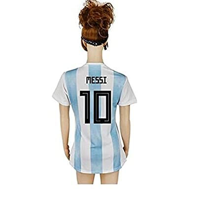 2018 Argentina National Team 10 Messi Home Womens Soccer Jersey White/Blue Size L