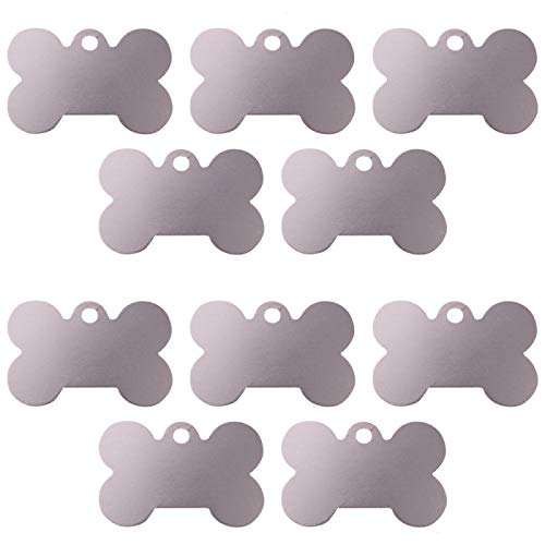 Gaiatop Pet Tag for Dogs, 10 Silver Bone Shape Personalized Pet ID Tag Blanks Strong Anodized Aluminum ()