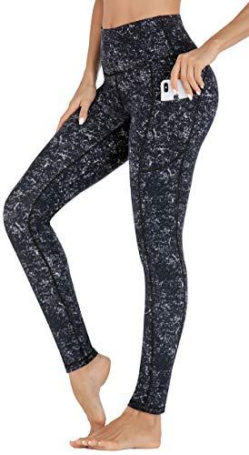 IUGA High Waist Yoga Pants with Pockets, Printed Leggings for Women 4 Way Stretch Pattern Yoga Leggings with Pockets (Starry Black, Medium)