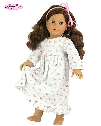 18 Inch Dolls Clothes Nightgown fits American Girl Dolls, Print Knit Nightgown Doll Clothing for 18 Inch Dolls (American Girl Doll Night Light)