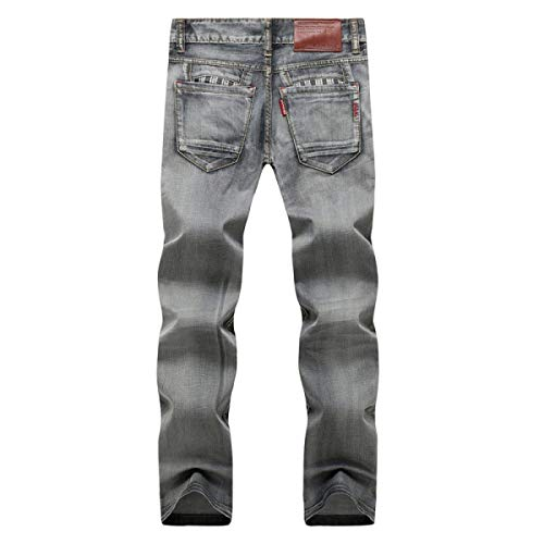 Media Uomo Moderna Grey Slim Fit Casual In Stretch Da Dritti Lunghi Jeans Pantaloni Retrò Vita Denim A wXO8aFcq