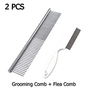 AUEAR, Set of 2 Dog Cat Grooming Flea Comb Stainless Steel Grooming Comb and Flea Comb to Remove Fleas 43