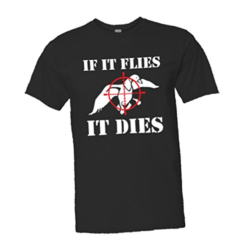 Adult If It Flies It Dies Duck Top Quality Unisex/Mens Tee Shirt - XL - Black