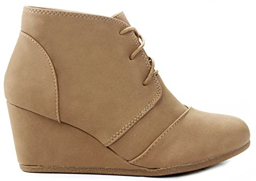 JJF Shoes Aloe Tan Lace-up Faux Nubuck High Top Wedge Ankle Sneaker Bootie-8.5 by JJF Shoes