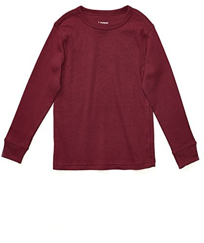 Long Sleeve Solid T-Shirt 100% Cotton (12 Years, (Burgundy Long Sleeve Shirt)