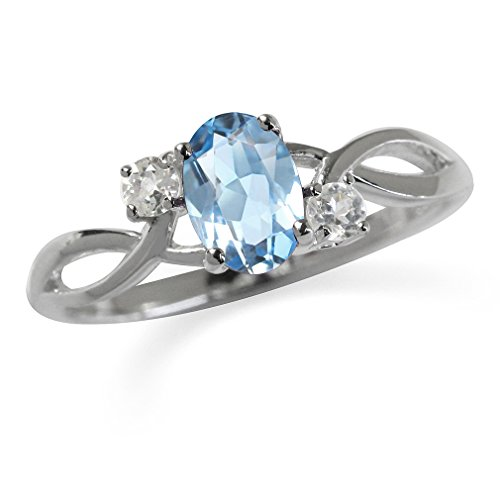 Topaz 925 Sterling Silver Engagement Ring Size 9 ()