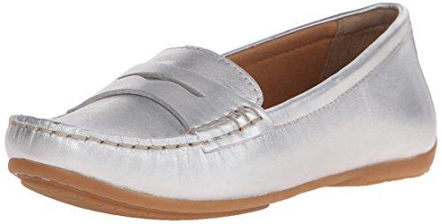 CLARKS Women's Doraville Nest Slip-On Loafer Silver Leather