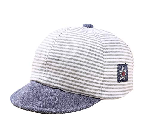 DANMY Baby Boy Girls Baseball Cap Striped Sunhat Infant Hat (Gray)