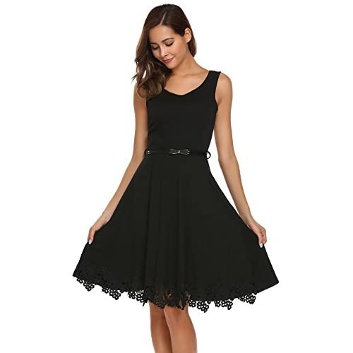 e02108e2067 Zeagoo Women Elegant A-line Sleeveless Lace Trim Cocktail Party Dress with  Belt delicate