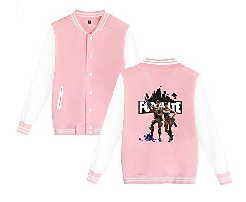 Per Aivosen Uomini Leggera Donne Baseball Unisex Giacca Sweatshirts E Casual Fortnite Allentato Pink4 Stampate Da Moda Comode U7wqU4r