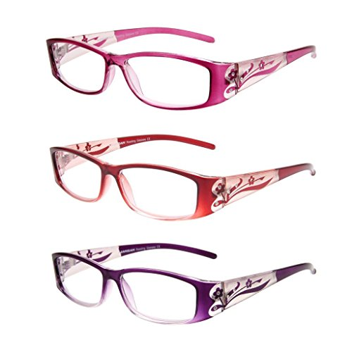 Pink Rhinestone Reading Glasses - LianSan Designer Fashion Retro Ladies Readers with Bling 3 Pack Reading Glasses for Women with Rhinestone Eye Strain Magnifying Glass 2.0 1.5 1.00 2.5 1.25 1.75 2.25 2.75 3.0 3.5 4.0 L3711 (+1.50)