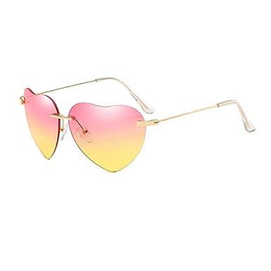 Yolmook - Gafas de sol con forma de corazón, color melocotón ...
