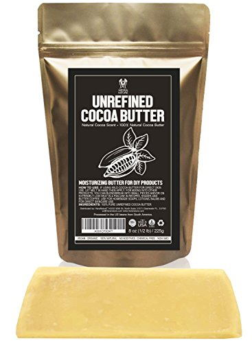 Raw NATURAL COCOA (CACAO) BUTTER BLOCK Best Quality Rich Chocolate Aroma For Lip Balms, Stretch Marks, DIY Base for Body Butter & Soap Making (USA) - 1/2 lb (8 (Butter Base)