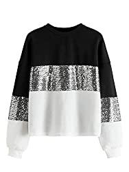 Sequin Long Sleeve Basic Pullover Sweatshirt