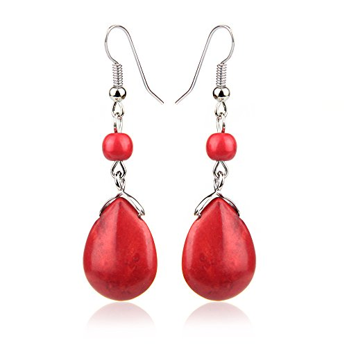 CCOHO Women Gemstone Teardrop Earrings Dangle Ball Drop Earring Wedding Jewelry Accessories, (Gemstone Teardrop Ring)