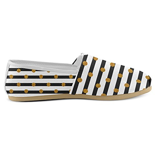 Mocassini Da Donna Di Interestprint Classico Canvas Casual Slip On Scarpe Moda Sneakers Mary Jane Flat Golden Dots
