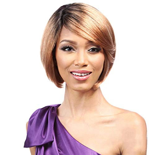 Sale Moisturizing - Zlolia Short Bob Hair Wigs Straight with Flat Bangs Synthetic Colorful Cosplay Daily Party Wig for Women Natural As Real Hair