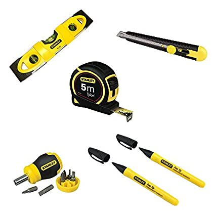 Pack Promo de 6 herramientas: 1 nivel 25 cm, 1 Cutter 9 mm, 1 cinta ...
