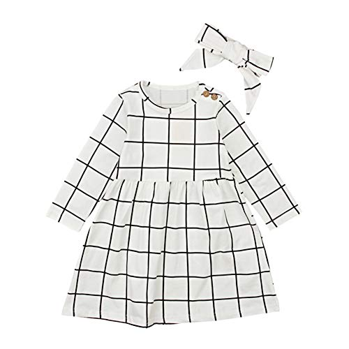 xinYxzR Baby Girl's Clothes Set,Fashion Kids Girls Grid Long Sleeve Dress Bowknot Headband Clothing Suit 2Pcs Beige - Grid Fashion