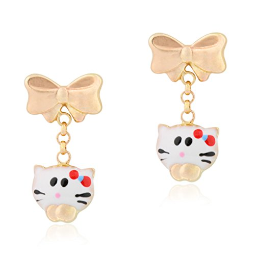 (UNICORNJ 14K Yellow Gold Bow Earrings with Enameled Kitty Dangle Kids & Children Italy)