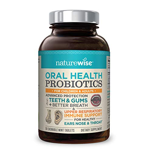 - NatureWise Oral Health Chewable Probiotics | Supports Healthy Teeth, Gums, Better Breath | Ear, Nose, Throat Immunity for Kids & Adults | Sugar-Free Natural Mint Flavor [2 Month Supply - 50 Tablets]
