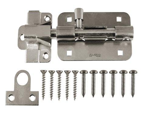 AjustLock 5 Inch Barrel Bolt, Extra Heavy Duty Lock (Stainless Steel)