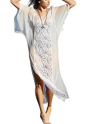 cd887329bf75c0 jastore Damen Strandkleid Weiß Lang Blume Kleid Elegant Maxi Strand Pareo  Damen Strandponcho Sommer Überwurf Kaftan