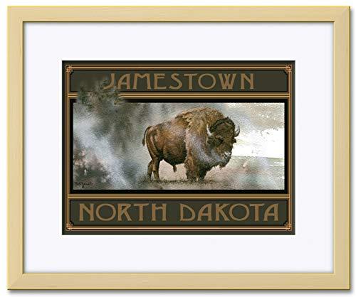 (Bison King Jamestown North Dakota Professionally Framed & Matted Giclee Travel Art Print by Dave Bartholet. Print Size: 9