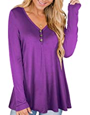 RANPHEE Womens Long Sleeve T Shirts Henley Fall Cotton Plus Size Tunic Tops