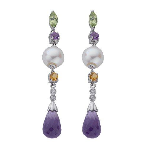 9ct or blanc diamant Perle Citrine Améthyste Pendants d'oreilles