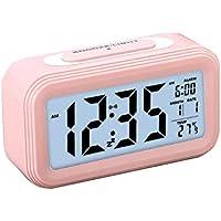 Zorara Réveil électronique Alarm Réveil Matin avec Grand écran LCD 12 / 24H, Fonction Snooze, Rétro-éclairage, Veilleuse, Température, Affichage de la Date, Alimenté par Batterie
