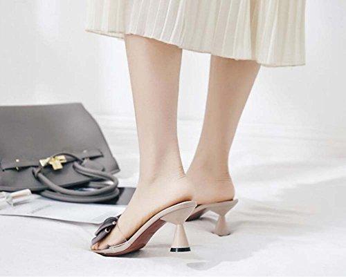 Shoes Dress Shoes Toe Eu Court 5cm Bowknot Pump Khaki Women Size Transparent Open 7 34 Chunkly Heel OL Slippers Roma 42 Cool Shoes ZT4qPP