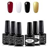 Beauty : Lagunamoon Gel Nail Polish Set,Soak Off UV LED Nail Gel Kit with Base Coat and Top Coat-Classic Elegant Lace Collection for Evening Party Fashion Show