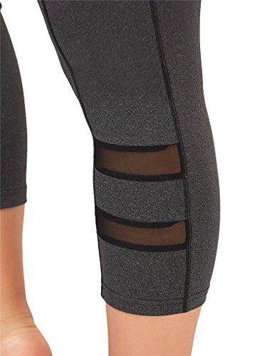 Fenxxxl Power Flex Yoga Capris Pants Tummy Control Workout Running 4 Way Stretch Crop Leggings F67 Grey 2XL by Fendxxxl (Image #5)