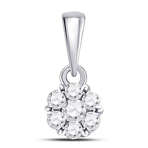 Jawa Jewelers 14kt White Gold Womens Round Diamond Flower Cluster Pendant 1/4 Cttw ()