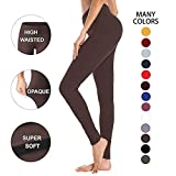 High Waisted Leggings for Women – Soft Athletic Workout Pants - Reg & Plus Size (Tan, One Size (US 2-12))