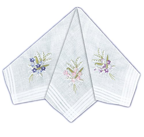 ETHO 12 Pack Womens Handkerchiefs Coloured Bouquet Floral Embroidery from ETHO