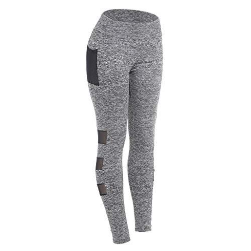 OOEOO Plus Size Leggings, Fashion Women Sexy Trousers Yoga Sport Hole Casual Cutout Pants (L, Gray)