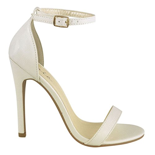 Miss Image UK Womens Ladies High Stiletto Heel Barely There Strappy Ankle Strap Party Sandals Shoes Size White Lizard Faux Leather lgzYLg