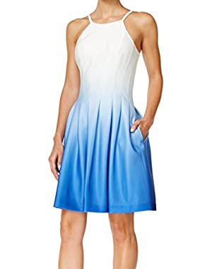 Calvin Klein Blue Womens Ombre Pleated Sheath Dress White 12