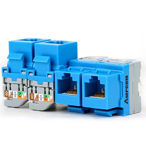 5-Pack CAT5e Tool Less Keystone Jack,AMPCOM RJ45 Self-Locking Cat.5e Keystone Module Adapter No Punch-Down Tool Required Couplers for Wall Plate UTP Blue (Cat5e Keystone Jack)