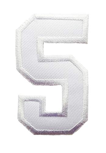 Large T-shirt Embroidered White - 3 INCH White Number 5 Patches Appliques Fabric Decorating for Hat Cap Polo Backpack Clothing Jacket T-Shirt DIY Embroidered Iron On/Sew On Patch