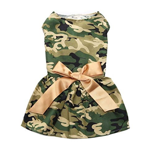 (LVYING Pet Casual Soft Camouflage Clothing Dog Dress with Gold Ribbon Bow)