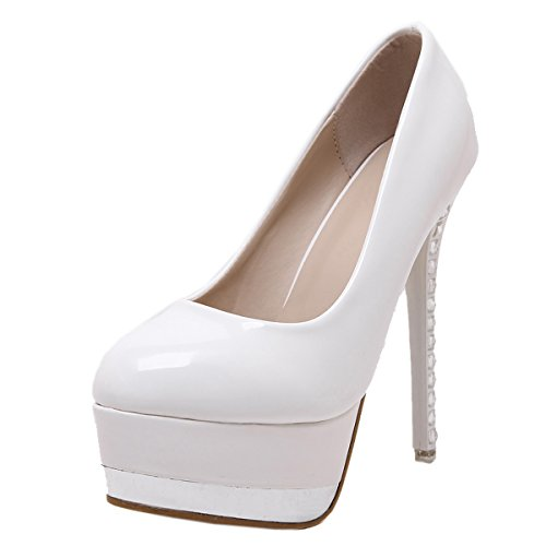 Harshiono Womens Patent Leather Platform Pump Weeding High Heeled Shoes White as Picture dkEzL3