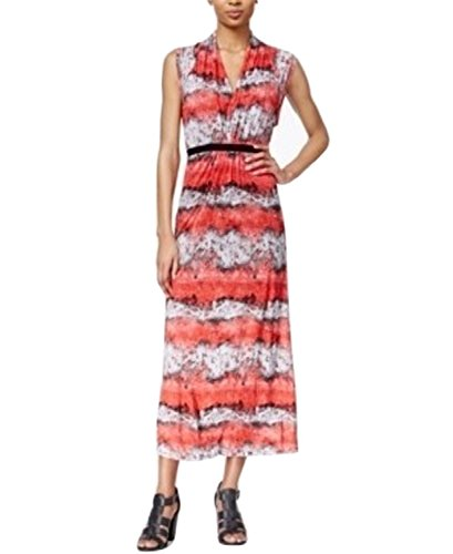 kensie Women's Salsa Printed Maxi Dress (Large, Red/White) - Kensie Girl Printed