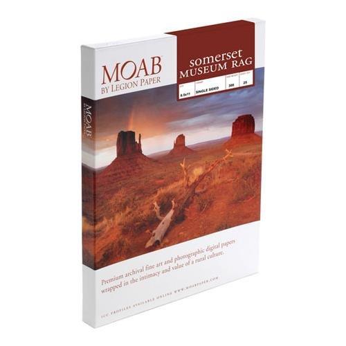 Moab Somerset Museum Rag, White Matte Velvet Inkjet Paper, 300gsm, 8.5x11