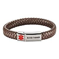 [Engraving] Leather Medical Alert Bracelet - Personalized Medical ID for Men Women Kids Custom Diabetic Alert Bracelet-Brown